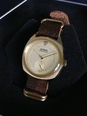 Reloj con pulsera de cuero color oro-marrón acero inoxidable