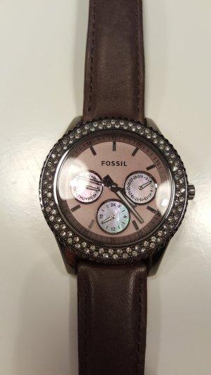 Fossil Horloge met lederen riempje donkerbruin