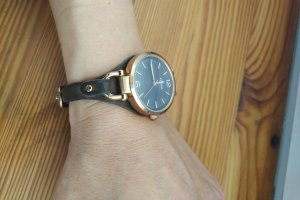Fossil Watch With Leather Strap rose-gold-coloured-dark brown