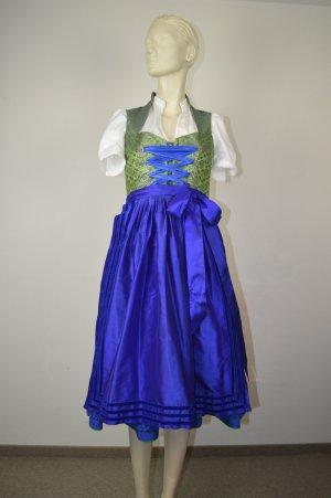 Vestido corsage verde hierba-azul Seda