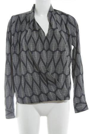 Daniel Hechter Langarm-Bluse dunkelblau-weiß abstraktes Muster Elegant