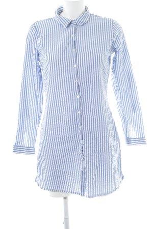 Daniel Hechter Lange blouse wit-azuur gestreept patroon casual uitstraling