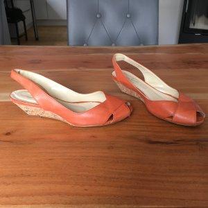 Daniel Hechter Peeptoe Sandalette-Wedges Absatz-orange-Leder-Größe 36- Korkabsatz-wie neu