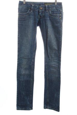 Daniel Stern Slim Jeans blau Logo-Applikation aus Leder