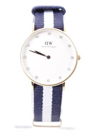 Daniel Wellington Analoog horloge blauw-wit gestreept patroon marine uitstraling