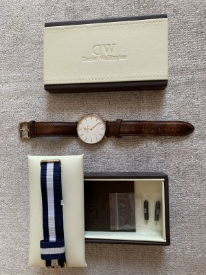 Daniel Wellington Watch With Leather Strap gold-colored-brown