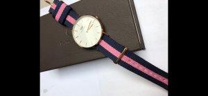 Daniel Wellington Uhr Roségold Strap blau pink