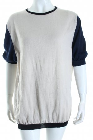 Daniele Alessandrini Short Sleeve Sweater oatmeal-dark blue college style