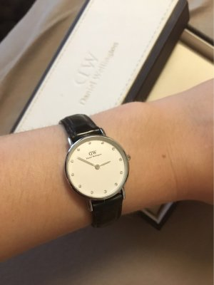 Daniel Wellington Watch With Leather Strap silver-colored-brown leather