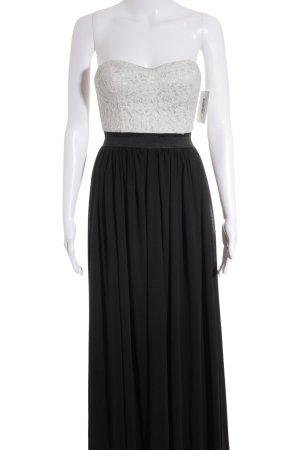 Danity schulterfreies Kleid schwarz-hellgrau florales Muster Elegant