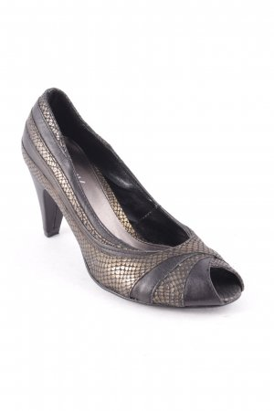 Danny Shoes Peep Toe Pumps black-bronze-colored animal pattern animal print