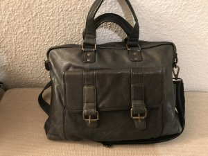 College Bag green grey leather