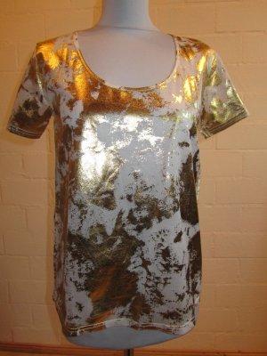 DAPHNEA: Bluse-Shirt mit Goldprint, weiß, Gr. M, NEU