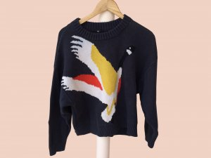 Dark Blue Sweater with a Bird