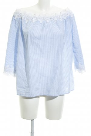 Darling Carmen-Bluse himmelblau-weiß Streifenmuster Casual-Look
