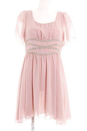 Darling Vestido de chifón rosa empolvado estampado floral elegante