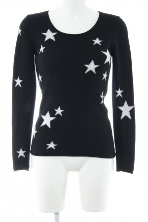 Darling Harbour Cashmerepullover weiß-schwarz abstraktes Muster Casual-Look