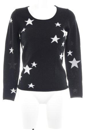 Darling Harbour Cashmerepullover schwarz-wollweiß Sternenmuster Casual-Look