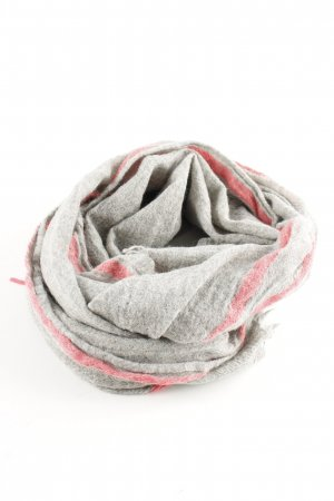 Darling Harbour Fringed Scarf light grey-red striped pattern casual look