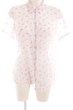 Darling Harbour Hemd-Bluse weiß-rosa Motivdruck Casual-Look