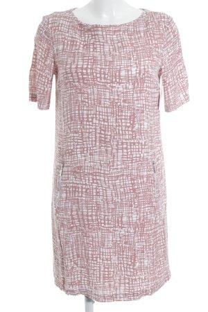 Darling Harbour Jurk met korte mouwen stoffig roze-wit grafisch patroon