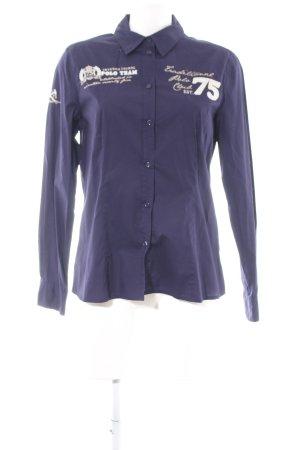 Darling Harbour Langarm-Bluse lila-weiß Schriftzug gedruckt Casual-Look