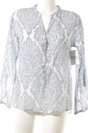 Darling Harbour Langarm-Bluse stahlblau-wollweiß abstraktes Muster Casual-Look