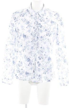 Darling Harbour Langarm-Bluse weiß-stahlblau florales Muster Casual-Look