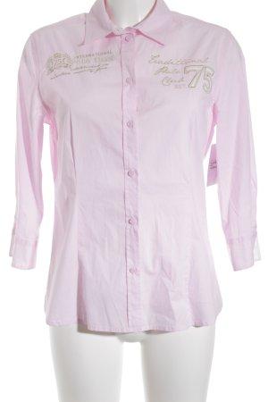Darling Harbour Langarmhemd rosa-goldfarben Schriftzug gestickt Business-Look