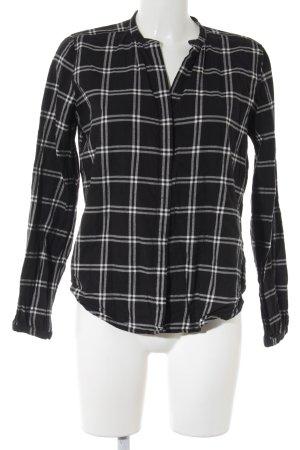 Darling Harbour Langarmhemd schwarz-weiß Karomuster Casual-Look