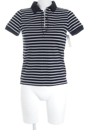 Darling Harbour Polo-Shirt weiß-schwarz Streifenmuster Casual-Look