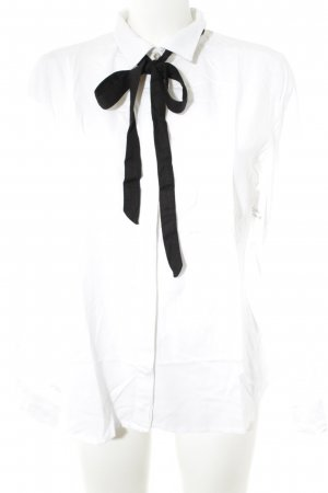 Darling Harbour Tie-neck Blouse white-black business style