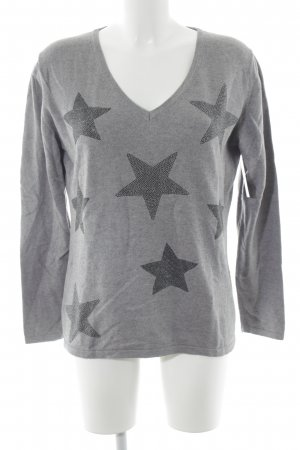 Darling Harbour V-Neck Sweater grey star pattern casual look
