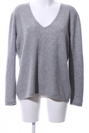Darling Harbour V-Neck Sweater light grey flecked business style