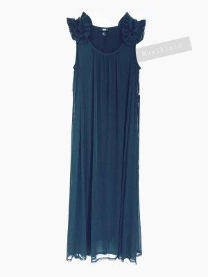 Das kleine Schwarze lang Kleid Maxikleid Rüschen klassisch transparent organza | H&M | L