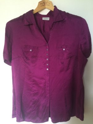 Short Sleeve Shirt brown violet-purple silk