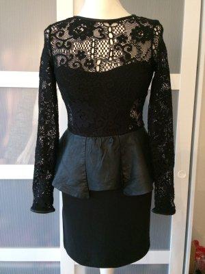 DAS Zara Bloggerkleid M 36/38 schwarz Peplum Spitze