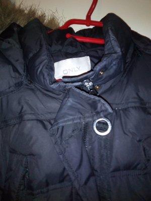 Abrigo de plumón taupe-negro tejido mezclado
