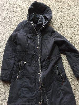 Manguun Abrigo de plumón azul oscuro-negro tejido mezclado