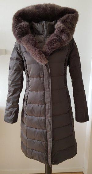 Tahari Abrigo de plumón marrón grisáceo-marrón oscuro