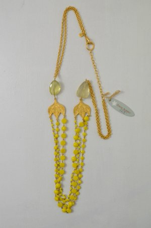 DAVID AUBREY Kette Halskette Vergoldet Steine Gelb Hellgrün Plättchen ca. 90cm