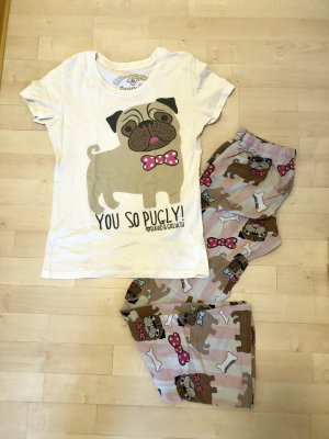 David & Goliath Pyjama Set S / 36 Hund Mops rosa weiß Damen Mädchen Pug