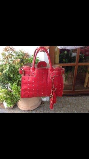 David Jones Handtasche, Leder Rot mit Innentasche Clutch