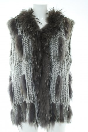 David Moore Fur vest black-light grey flecked elegant