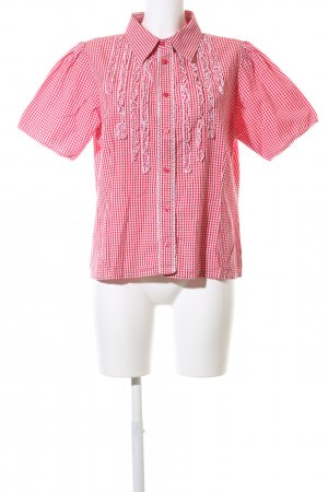 David Moore Short Sleeve Shirt red allover print elegant