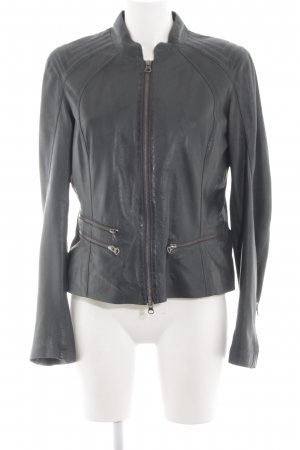 David Moore Leather Jacket black casual look
