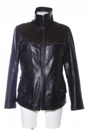 David Moore Leather Jacket black wet-look