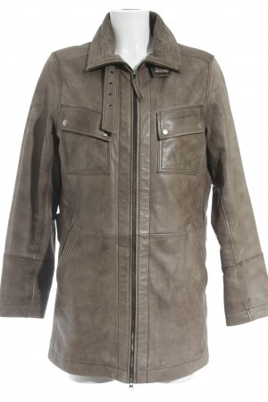 David Moore Leather Jacket grey brown classic style