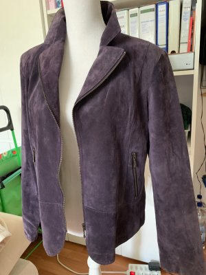 David Moore Leather Blazer silver-colored-mauve suede