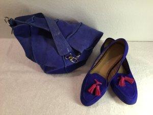 Mocasines azul-magenta Cuero